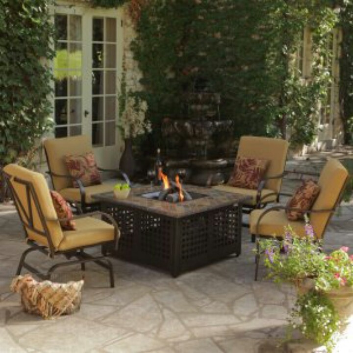 Rioja Collection Aluminum Chat Set With Fire Pit   Seats 4   Conversation  Patio Sets At Patio Furniture USA