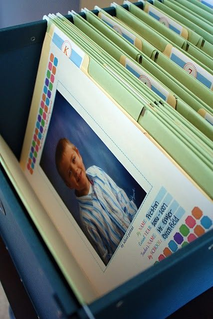 I wish my mom did this for me. File folders for K-12 to hold memorable school items and showcase that years school photo. I will be doing this! :)