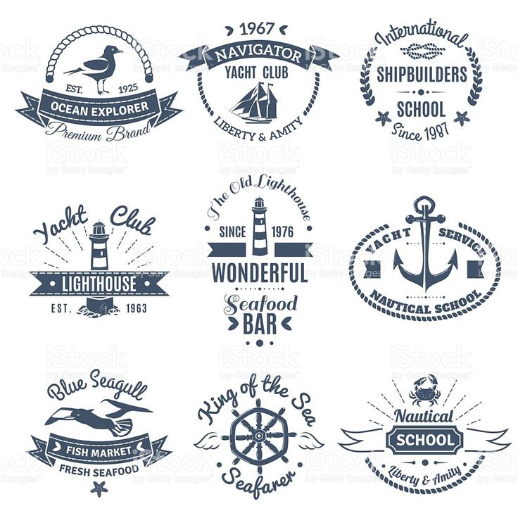 Nautical Marine Labels And Logos royalty-free stock vector art