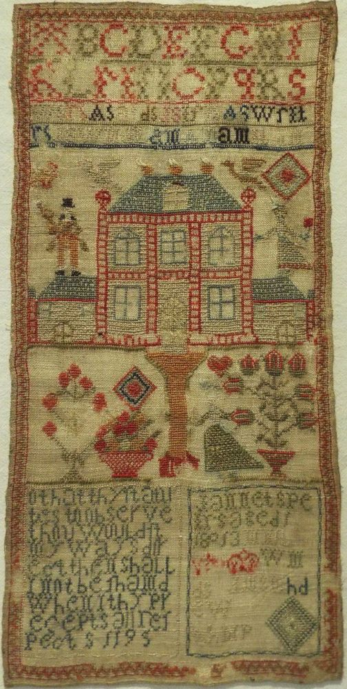 EARLY 19TH CENTURY HOUSE, FIGURE & MOTIF SAMPLER BY JANNET SPEIRS - 1813