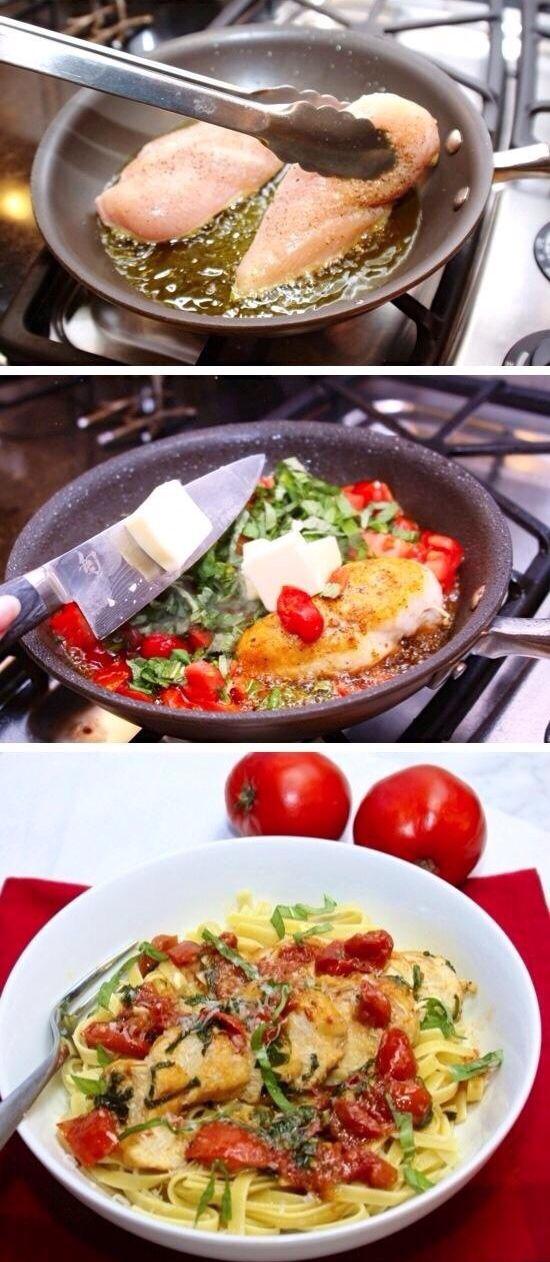 "Tomato Basil ""Chicken"" Pasta"