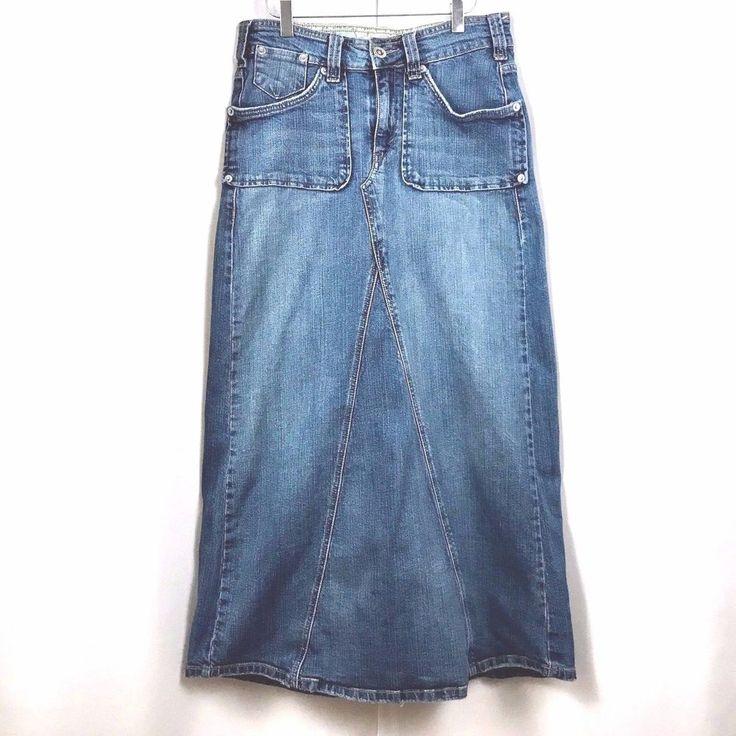 Levis Jeans Blue Denim Skirt Boho Maxi Modest No Slit Factory Faded Size 8  #LevisJeans #MaxiBohemianHippie