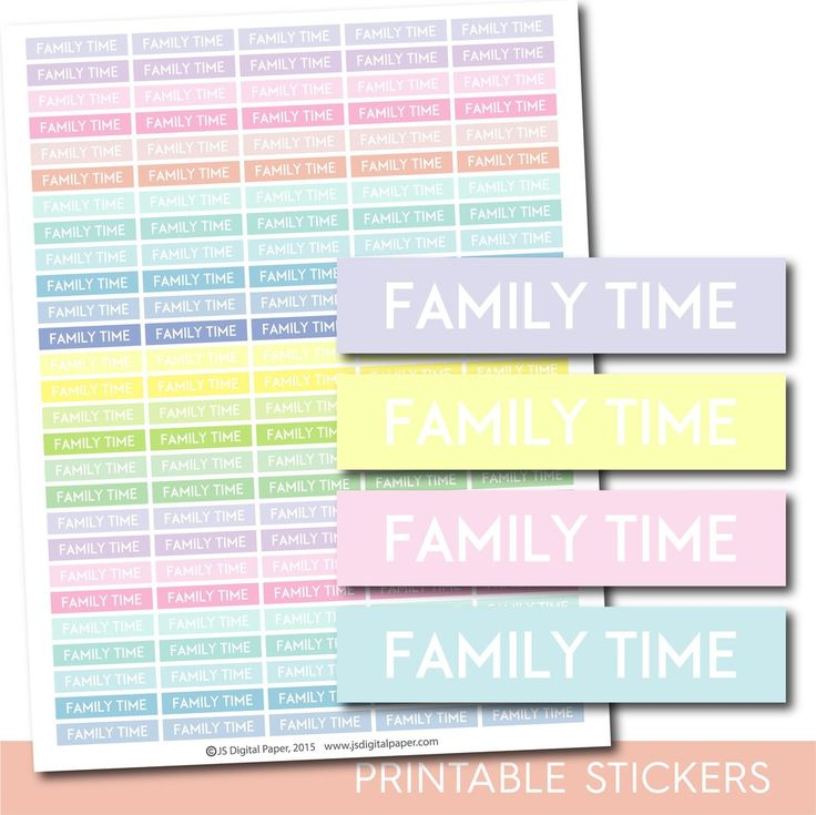 Family time header stickers, Pastel Family stickers, Printable planner header stickers, STI-1186