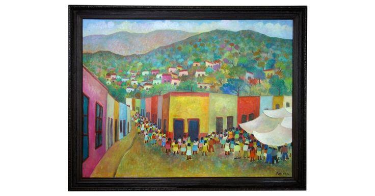 Delightful oil of a village scene by mexican artist g aurelio pescina 1938