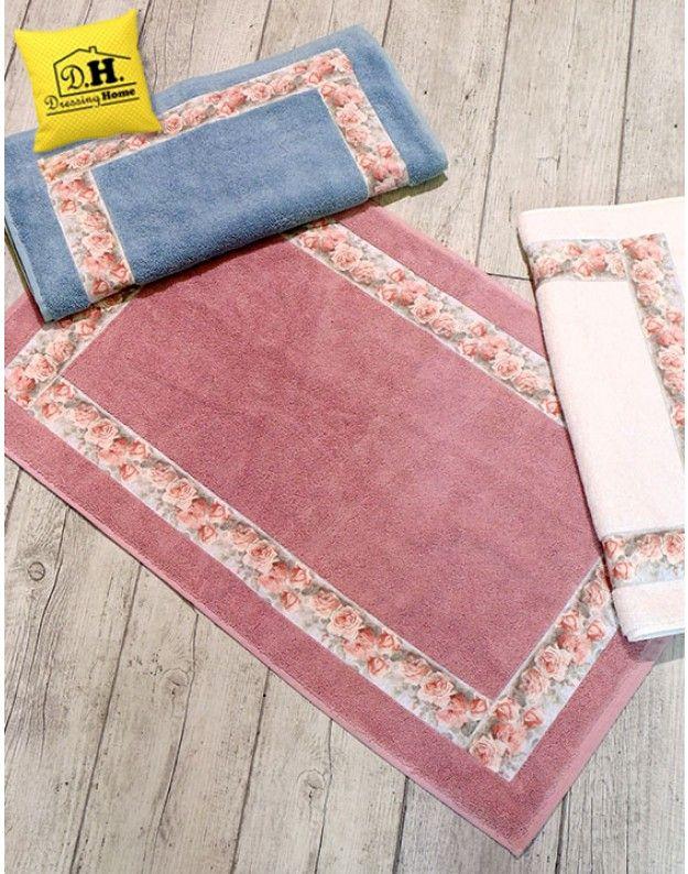 Tappeto Bagno Shabby chic Bord Elegant Collection 50 x 80 Colore Rosa