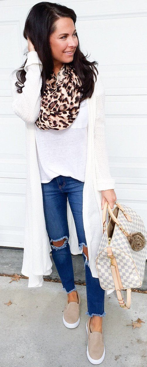 #spring   #fashion  / White Maxi Cardigan / Leopard Scarf / White Tee / Destroyed Skinny Jeans / White Checked Tote Bag