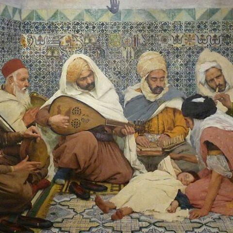 L'Exorcisme : Musiciens arabes chassant le djinn du corps d'un enfant 1884 André Brouillet ,Peintre Français (1857_1914) #algerie #algeria #art #art #artwork #artofinstagram #paint #painting #الجزائر #الجزائر_المحمية_بالله #لوحات_فنية #لوحات_فنية_جزائرية