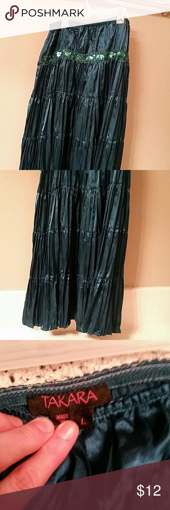 maxi skirt dark teal maxi skirt size large Takara Skirts Maxi