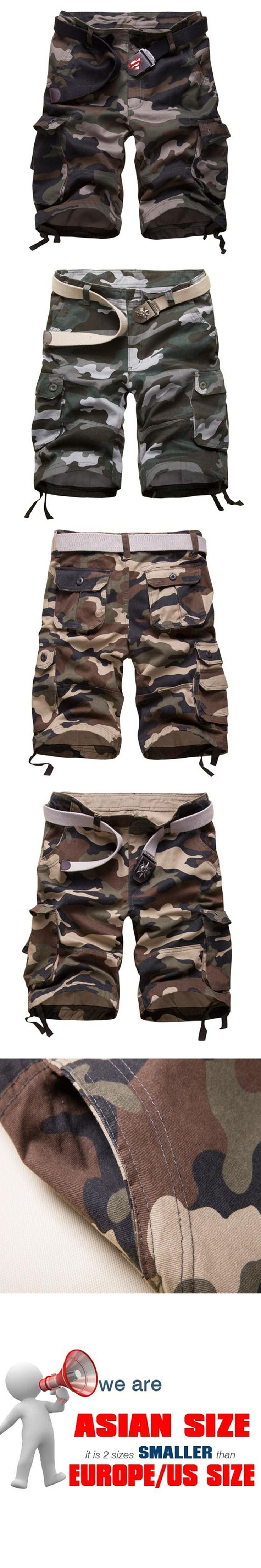 2017 Hot Sale Mens Shorts Casual Cotton Military Camouflage Short Summer Size 29-42(no belt)
