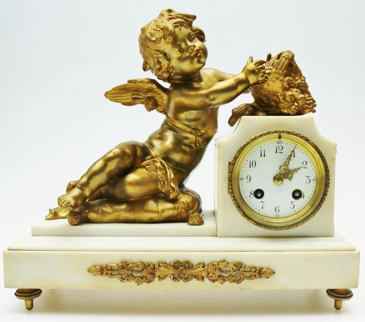 Classical French 8Day Gilt Figural Clock Large Mantel Clock Reclining lady C1890