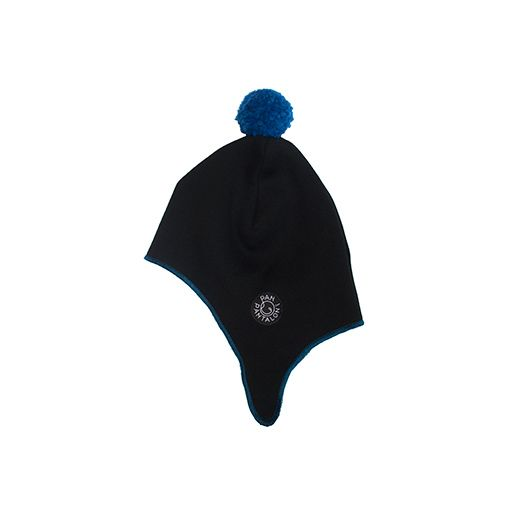 Aviator cap BLACK-TEAL. A warmly knitted aviator cap.