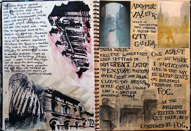 Notebook pages on architecture and Adolphe Valette. ©Robin Bonar-Law