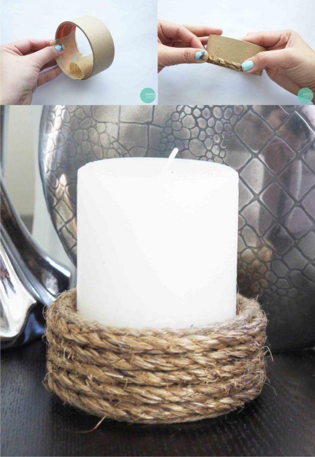 Portavelas con cartón y cuerda - mintedstrawberry.blogspot.com - DIY Rope-Wrapped Candle Holder