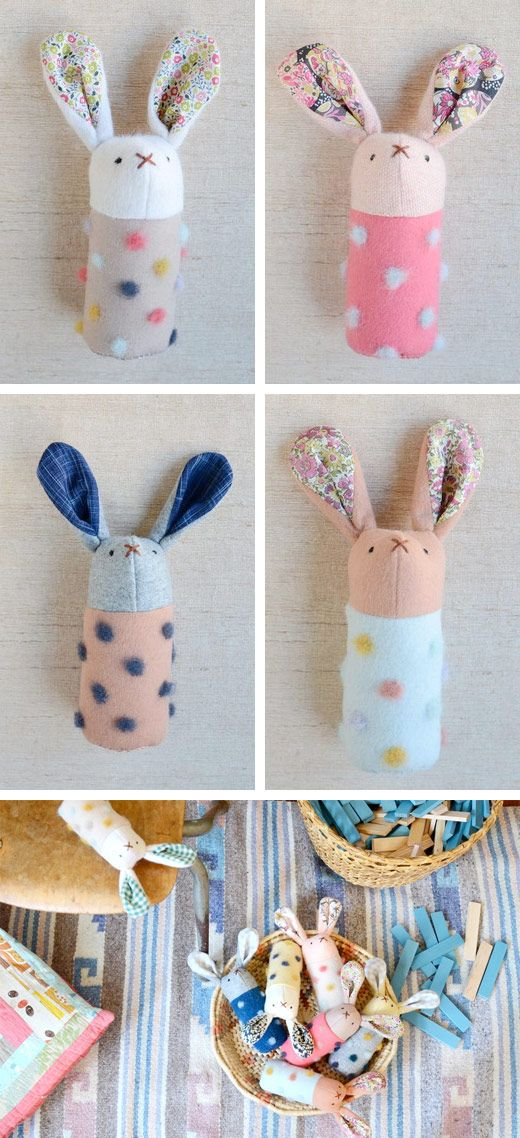 DIY Handmade Bunnies, Softies, Rabbits, Rattles, Toys, cute, simple, sewing project, floral, felt, gift
