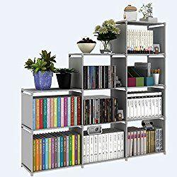 Bookshelf 9-Cubes Book Shelf Office Storage Shelf Plastic Storage Cabinet (Grey)