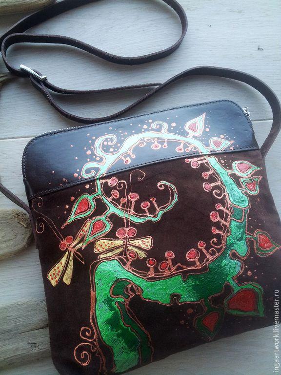 """Купить Cумочка """"Цветение папоротника"""". Ручная роспись. Натуральная кожа. - сумка, сумка из натуральной кожи"""