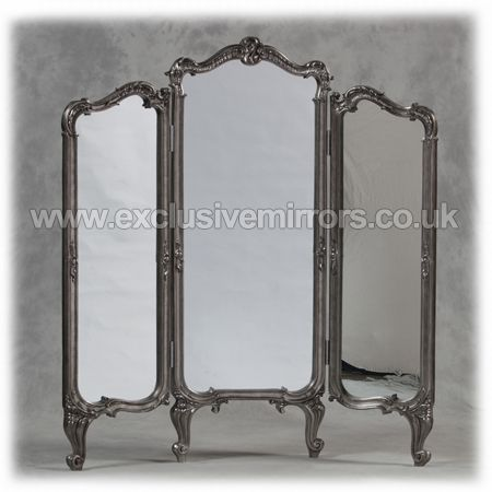 Antique Silver 3 Fold Free Standing Mirrored Dressing Screen