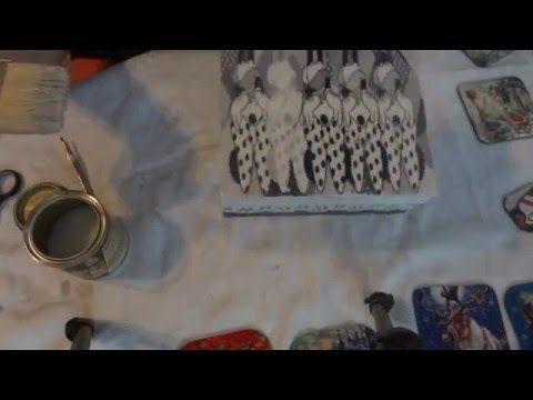 szkatułka myszka minnie decoupage - YouTube