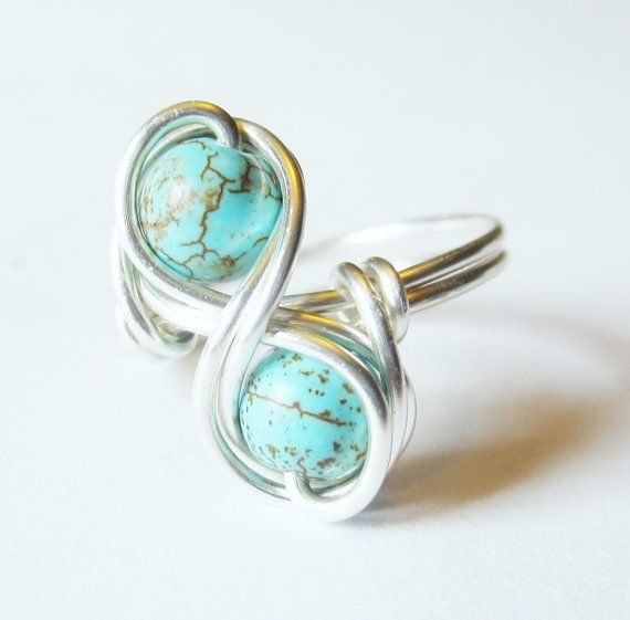 Turquoise+Infinity+Ring+Custom+Size+Silver+Wire+by+DistortedEarth,+$13.00