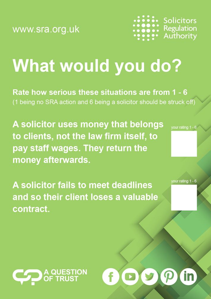 What would you do? Some of the questions we're asking delegates at the Citizens Advice conference. #solicitors #legal #professional #standards