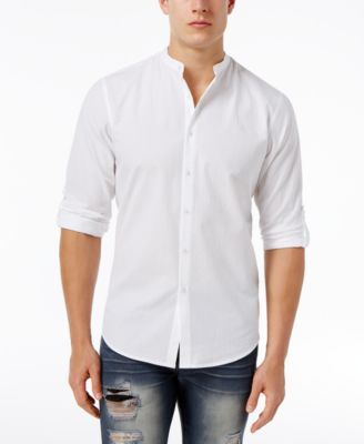 INC International Concepts Men's Seersucker Banded Collar Shirt, Only at Macy's | macys.com