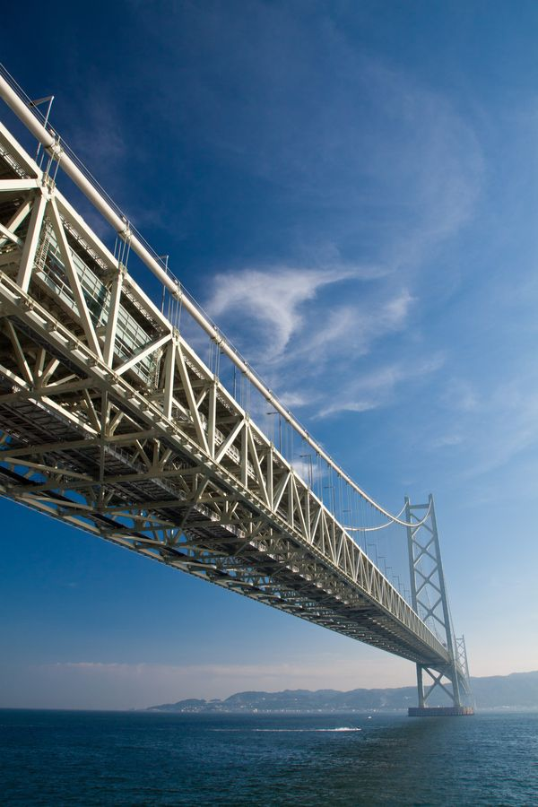 The Akashi Kaikyō Bridge, also known as the Pearl Bridge, links the city of Kobe on the mainland of Honshu to Iwaya on Awaji Island, in Japan. It crosses the busy Akashi Strait. It carries part of the Honshu-Shikoku Highway.  #japan#hyogo
