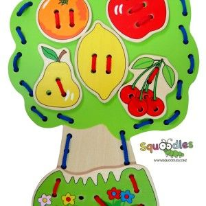 Lacing is an excellent activity for developing fine motor skills, improving hand-eye coordination and concentration, and keeping little kids...RRP $15.00 http://squoodles.co.nz/products/wooden-lacing-tree-wooden-toys-for-kids/
