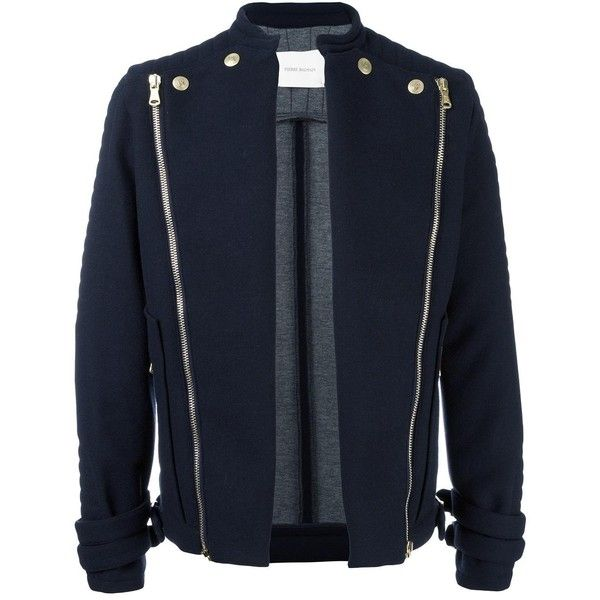 Pierre Balmain Jacket With Zip and Buttons ($1,340) ❤ liked on Polyvore featuring men's fashion, men's clothing, men's outerwear, men's jackets, navy, mens zip up jackets, mens button up jacket, mens zipper jacket and old navy mens jackets