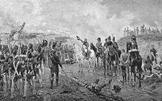 """Cent-Jours -Napoléon salue les soldats de la Vieille Garde qui vont se sacrifier à la fin de la bataille de Waterloo. - Remontant vers Paris par les Alpes, il voit ses effectifs se grossir des troupes envoyées contre lui. Partout, il reçoit un accueil triomphal aux cris de """"Vive l'Empereur! A bas les nobles!"""" Le 20 mars, porté par une foule en délire, il entre aux Tuileries tandis que Louis XVIII s'enfuit en Belgique. L'Empire est rétabli sans un seul coup de feu."""