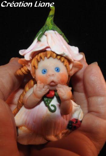 bébé Fée Fleur étonnée. FIMO