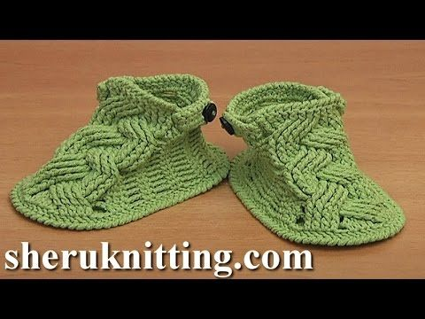Crochet Cable Stitch Buckle Shoes For Baby Tutorial 54 Part 3 of 3 - YouTube