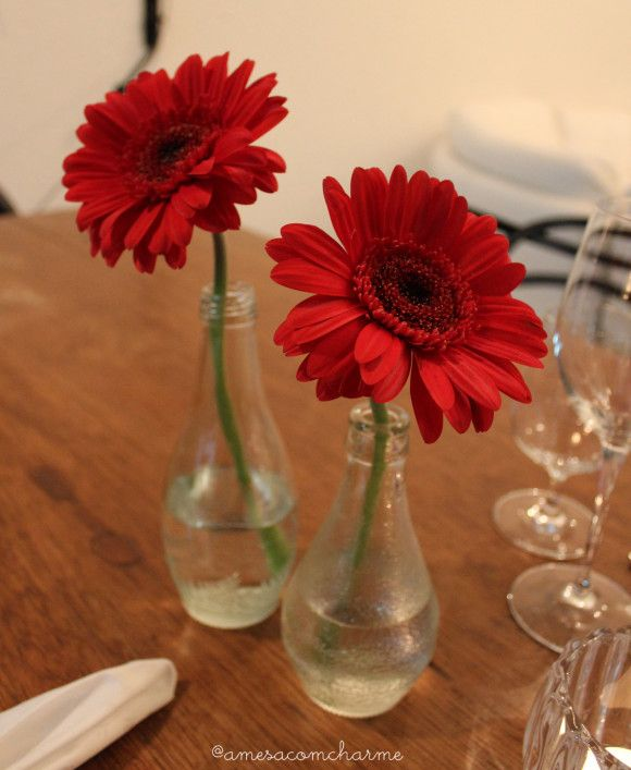 Simple arrangement with gerbera daisies