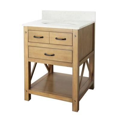Avondale 25 in. Vanity in Weathered Pine with Marble Vanity Top in Carrara Marble-AVHOS2422CR - The Home Depot