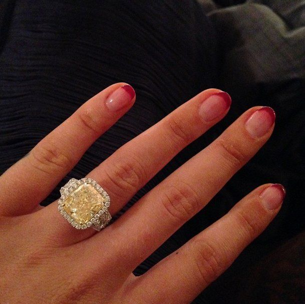 """Pin for Later: We Bet Iggy Azalea Didn't Expect an Engagement Ring THIS Fancy  """"Happiest Day #Isaidyes,"""" Iggy captioned the first photo of her ring."""