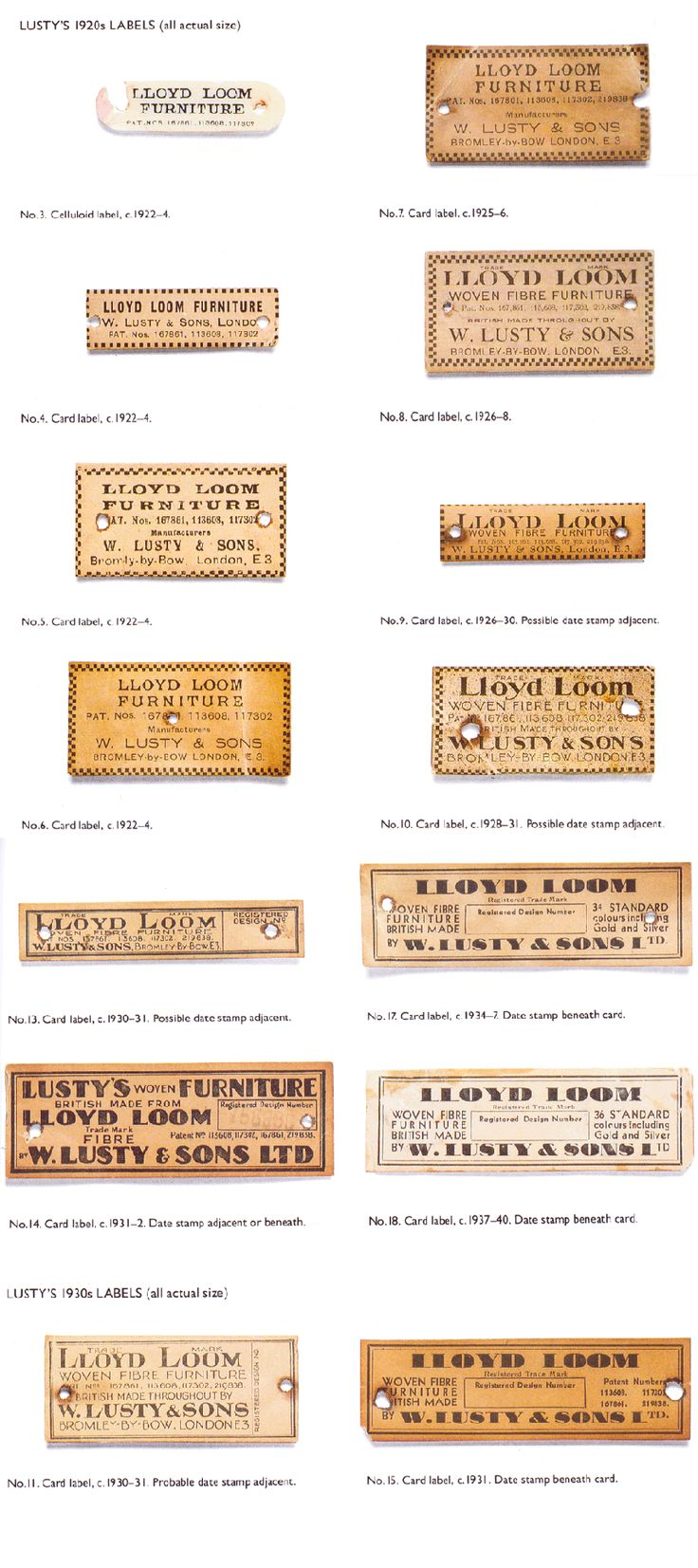 Llloyd Loom Lusty Chair Labels