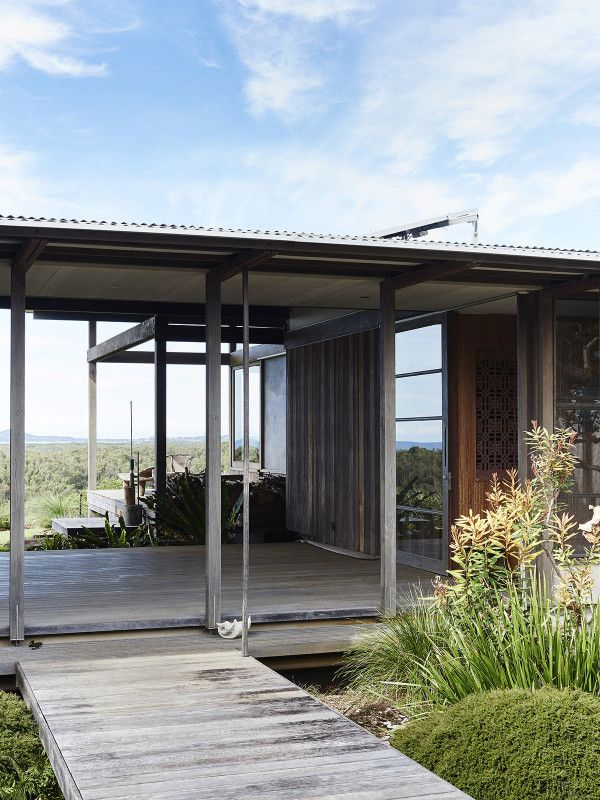 Lovely native timber decks connecting all verandas. Step through garden, allowing the garden to come 'into' the building. Photo – Eve Wilson, production – Lucy Feagins / The Design Files.