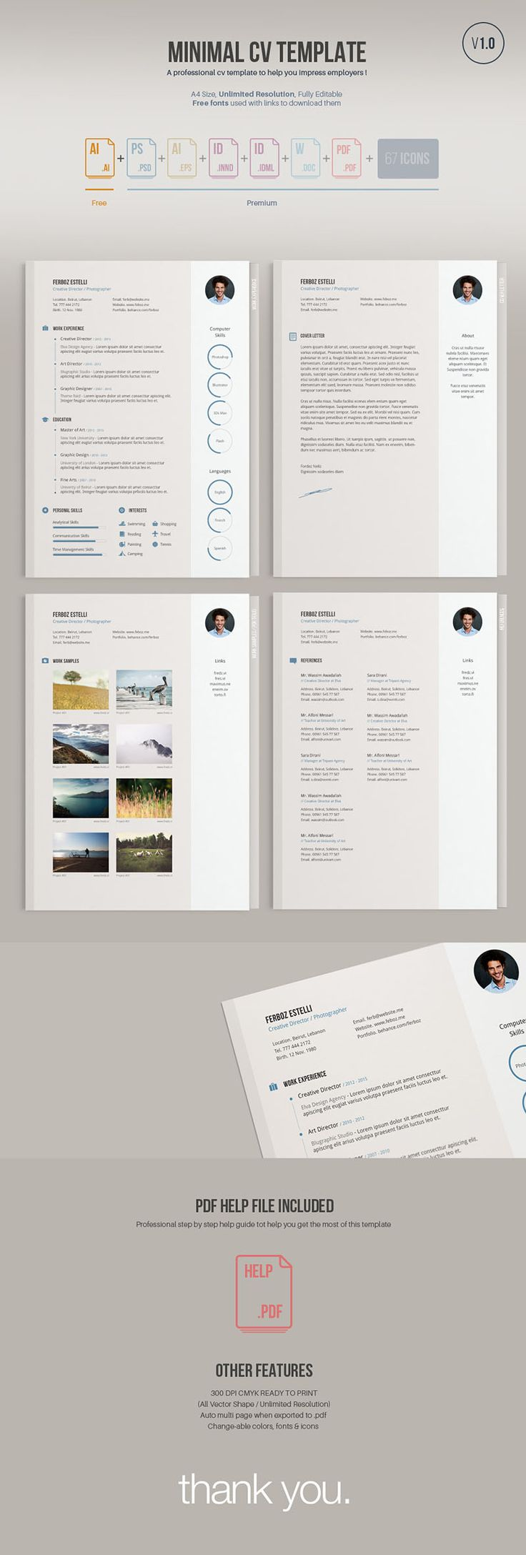 A minimal easy to edit free resume