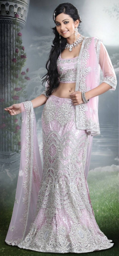 soft almost white pink & silver.  Also a huge hit at indian weddings.