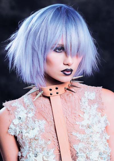 by Hair Expo, via Flickr bobbed hair periwinkle color pastel