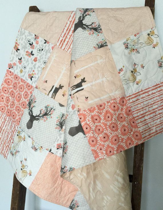 Baby Girl Quilt Fawn Stag Birch Trees Deer Woodland by CoolSpool