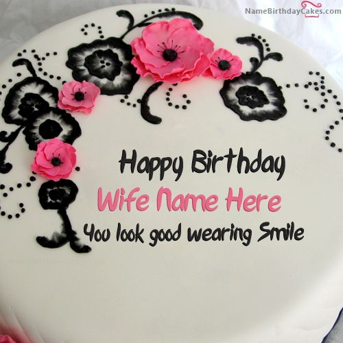 Write name on Best Flowers Birthday Cake For Wife - Happy Birthday Wishes
