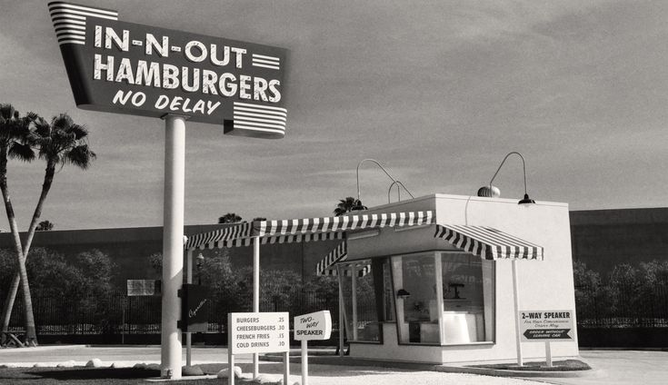 Vintage In-N-Out Burger Stand, Los Angeles California, Black and White Photograph