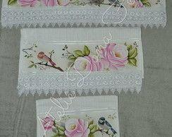 Jogo de toalhas pintadas 3 peças