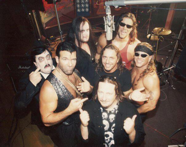 via http://shanefamealexander.tumblr.com Paul Bearer, Undertaker, Bret Hart and the Clique (Shawn Michaels, Scott Hall and Kevin Nash).
