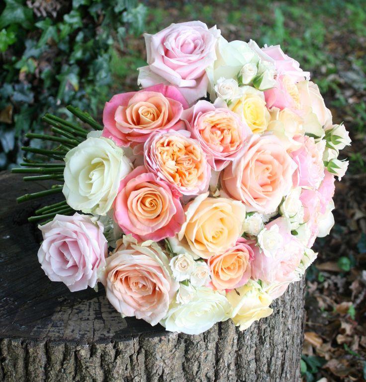 Sweet peaches & cream rose bouquet.