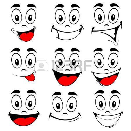 loco: Ilustración vectorial de un conjunto de dibujos animados caras sonrientes…