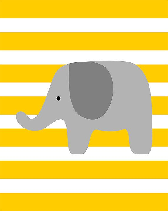 SALE 50 % OFF - Gray elephant on yellow background - nursery baby shower home art - digital print - 8x10 on A4 on Etsy, $8.47