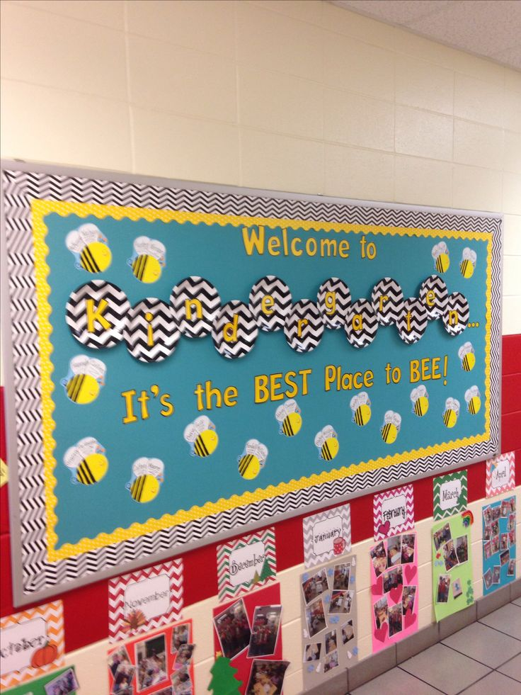 Back to school Kindergarten bee bulletin board- chevron paper plates from Walmart back diecut letters.  I left up last year's class timeline for Open House (below bulletin board) so parents could get a snapshot of what each month holds in store for us in K.