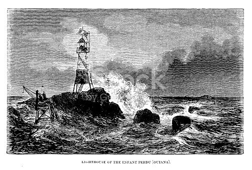 Victorian Lighthouse Illustration From Lighthouses And Lightships By W H Davenport Adams 1870 19th Century Print Of Lenfent Perdu Lighthouse French Guiana Maritime Safety stock vector art 863297480 | iStock