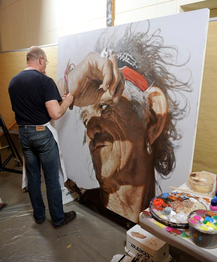 Good Sebastian Kruger Painting Keith Richards From The Rolling Stones